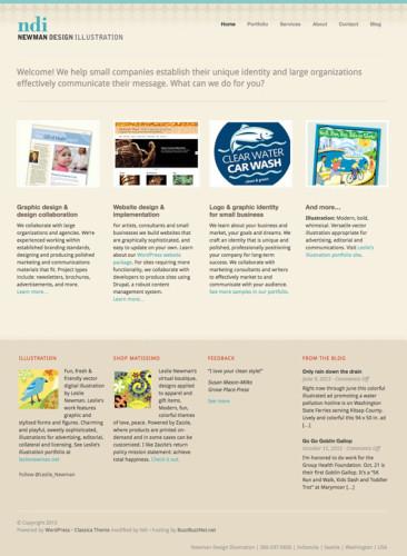 Designer's website home page screenshot