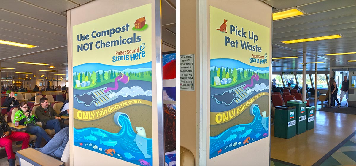Water Pollution public awareness posters on Washington State Ferries