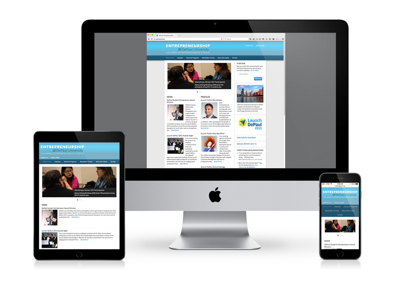 Higher ed program website shown on iPad, iMac, iPhone