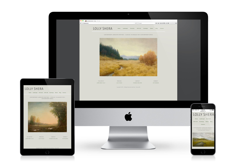 A landscape painter's website displaying on tablet, desktop and smart phone