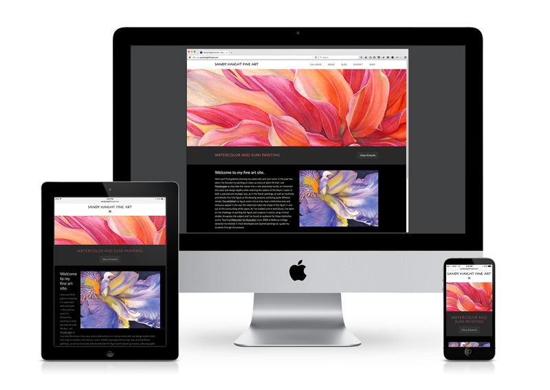 Painter's responsive website shown on iPad, iMac, iPhone