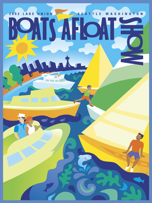 Colorful sophisticated, but fun illustration of sail boats and powerboats with Seattle skyline