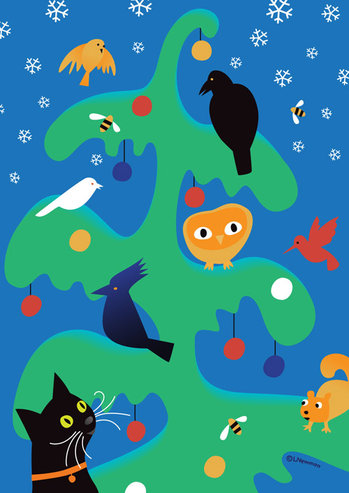 A whimsical Christmas tree with an owl and Stellar's jay, squirrel and a black cat