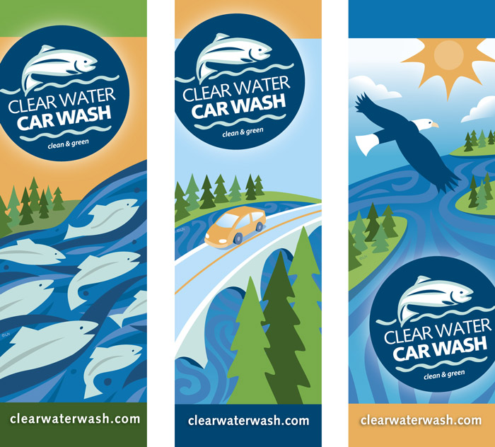 Illustrated banners with salmon, car and eagle