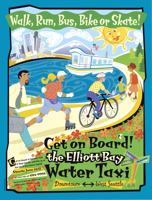Whimsical style illustrated poster with people headed to board the West Seattle Water Taxi