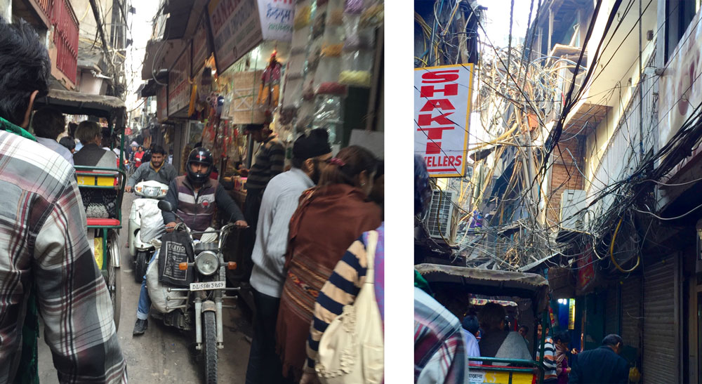 Tight streets of old Dehli, tangle of power lines and cords