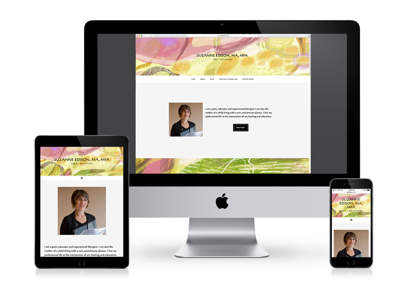 Responsive writer educator and poet's website design shown on tablet, desktop and mobile