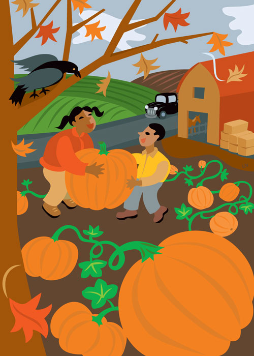 children harvesting pumpkins