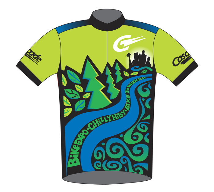Cascade Bicycle Club jersey illustration Chilly Hilly