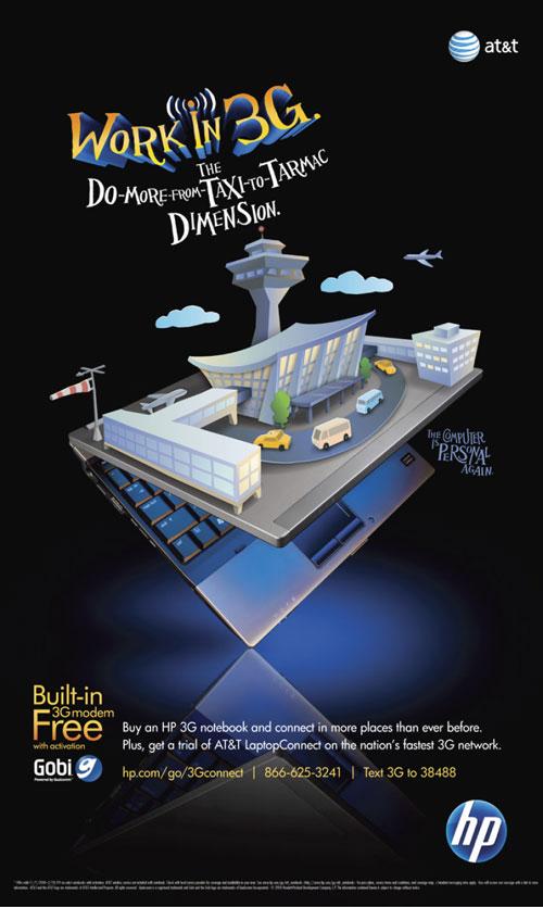 Hewlett Packard Work in 3G airport illustration