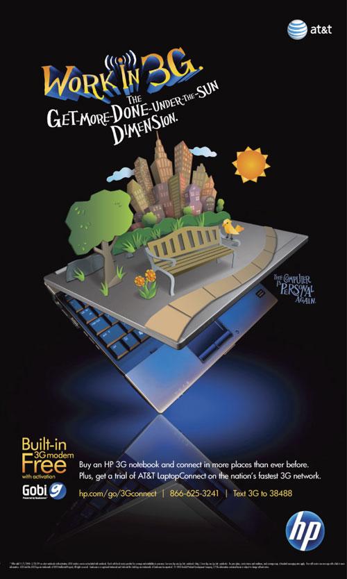 Hewlett Packard Work in 3G park illustration