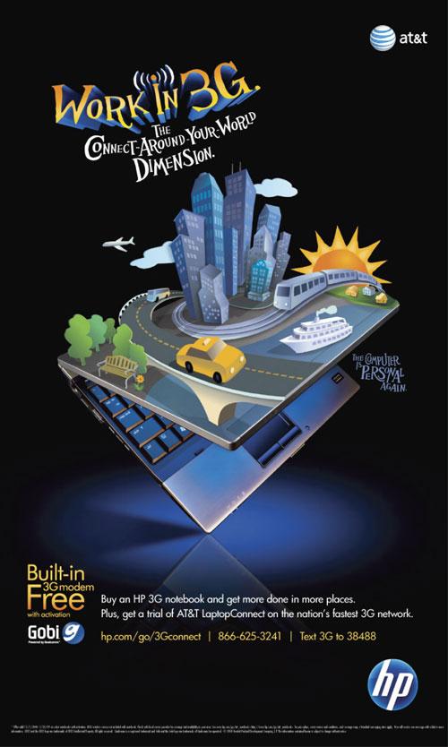 Hewlett Packard Work in 3G city travel illustration