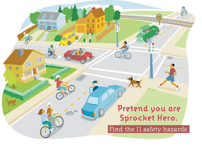 Bike safety illustration, Sprocket Hero, 11 safety hazards