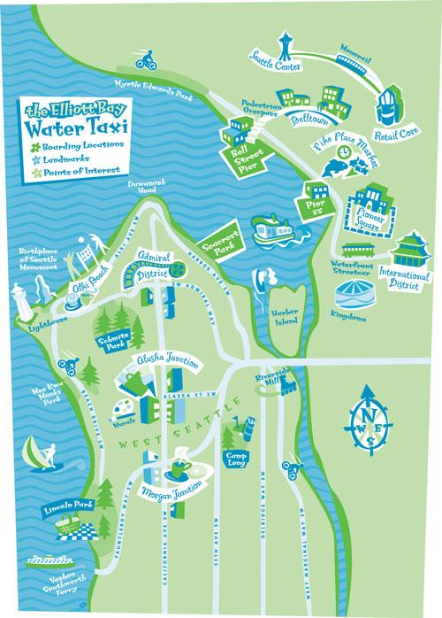 Elliott Bay Water Taxi map