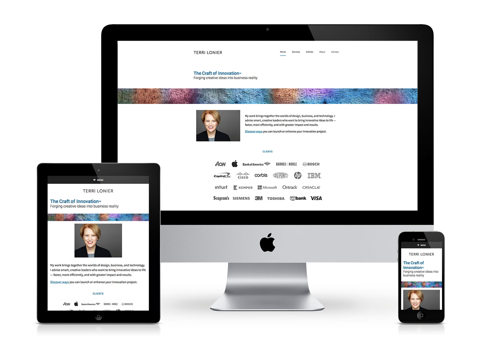 Wordpress website for a business consultant, shown on different devices